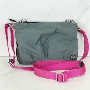 Lululemon Black Grey Pink Strap Crossbody Bag